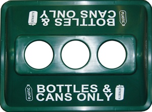 ClearStream Recycling Bin Lid - 3 Holes - Green - Bottles & Cans