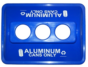 Blue Recycling Bin Lid w/ 3 Holes for Aluminum Cans Only