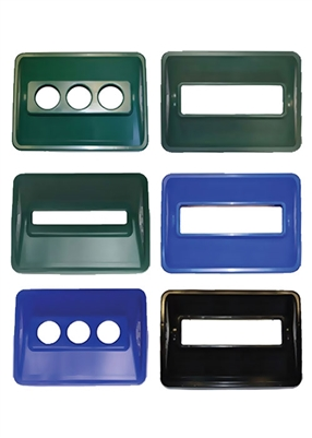 Custom Recycling Bin Lids - 3 Blue Lids with Different Holes