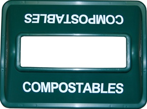 Waste Bin lid for compostables with a wide mouth, green