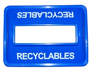 Wide Mouth Plastic Recycling Bin Lid in Blue