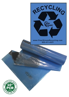 "Recycling Bags Dual Size <br>Blue Tint w/ Black ""Recycle"" - 200"