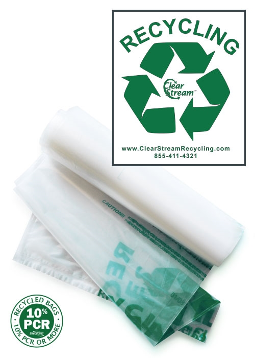 Double Sided Recycling Bags - 100 Count - Green