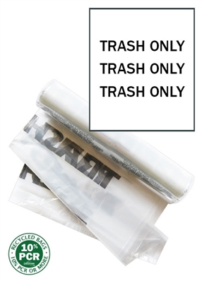 "Double Side Trash Bags - Printed with ""Trash Only"" - 200 Count"