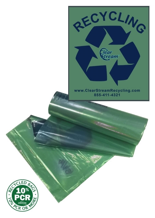 "Recycling Bags Dual Size <br>Green Tint w/ Blue ""Recycle"" - 200"
