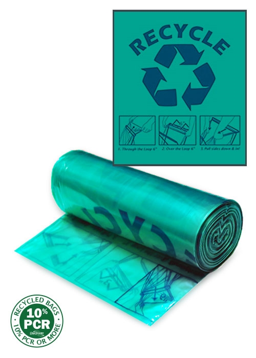 Clearstream Recycling Bag Green With Blue Print
