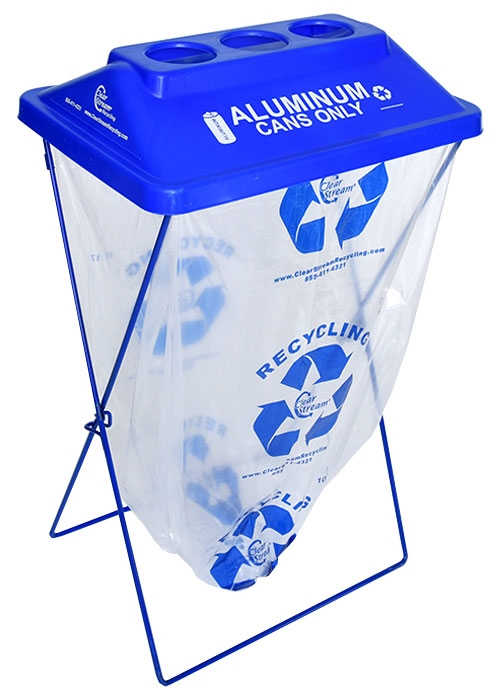Clear Add On Recycling Bin, Blue, 5, Side Kick